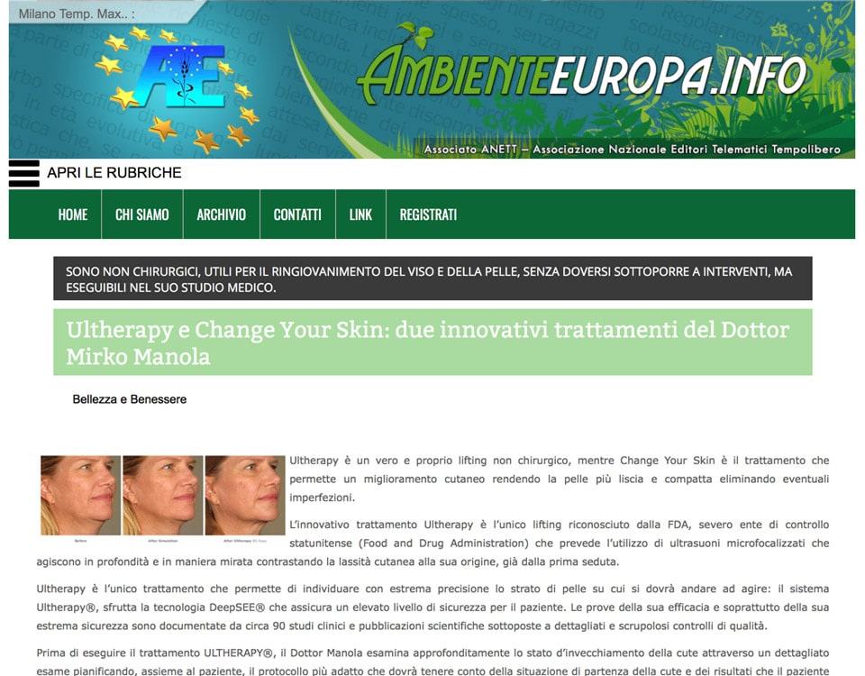Ultherapy e Change Your Skin: due innovativi trattamenti del Dottor Mirko Manola