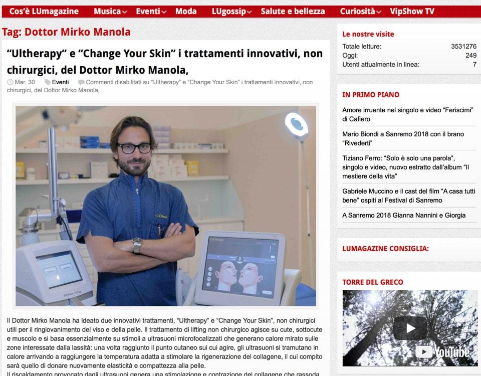 Ultherapy e Change Your Skin i trattamenti innovativi, non chirurgici, del Dottor Mirko Manola